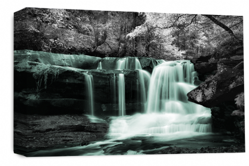 Waterfall Wall Art Duck Egg Grey White Landscape Canvas Forrest Picture